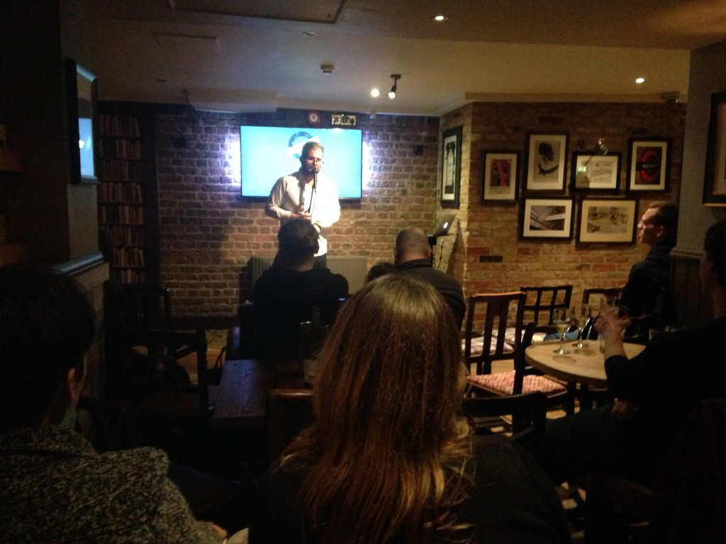 Daryl Perry performing at the Underground Comedy Club Notting Hill 2015-02-26