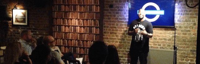 Marlon Davies performing at the Underground Comedy Club in Notting Hill