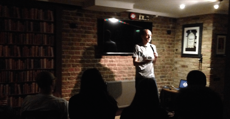 John performing at the Underground Comedy Club Notting Hill