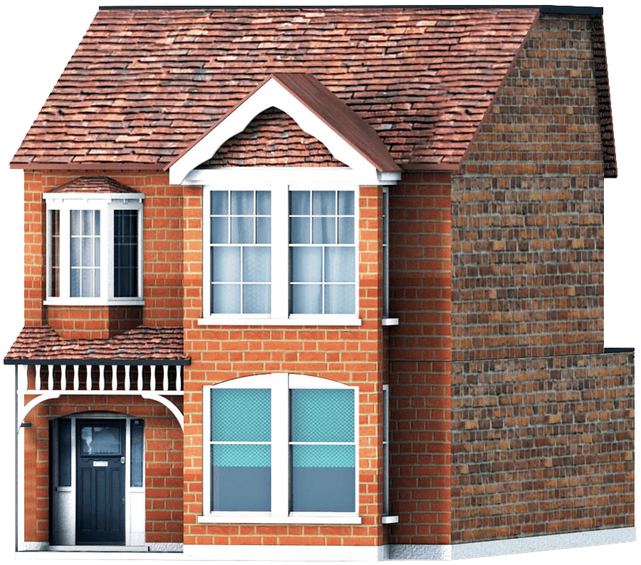 3d model of a terraced house